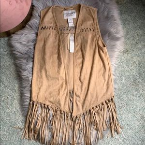 NWT American rag faux suede vest with fringe